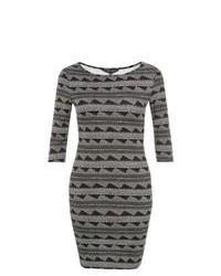 New Look Black Jagged Print Bodycon Dress