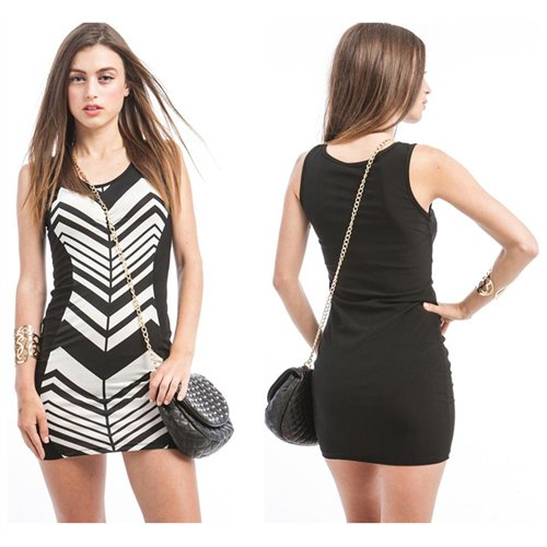 Stanzino Black White Chevron Bodycon Dress | Where to buy & how to wear