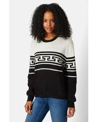 Black and White Geometric Crew-neck Sweater
