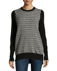 Neiman Marcus Cashmere Geometric Front Pullover Sweater Blackwhite