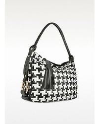 Black and white houndstooth woven leather tote bag medium 47296