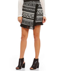 1 STATE 1 State Fringe Hem Cross Front Mini Skirt