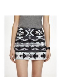 Express Rhinestudded Aztec Pattern Mini Skirt