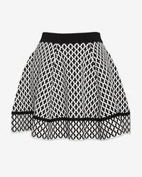 Torn By Ronny Kobo Tile Jacquard Flare Knit Skirt
