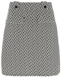White Geo Print Aline Mini Skirt