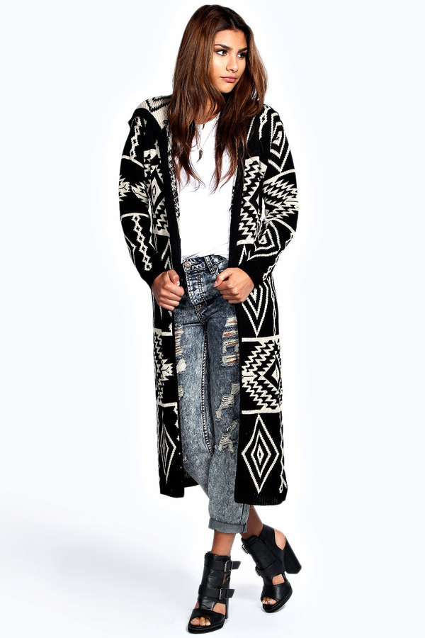 Boohoo Bella Hooded Aztec Long Cardigan | Where to buy & how to wear