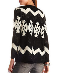 Charlotte Russe Mixed Stitch Open Aztec Cardigan