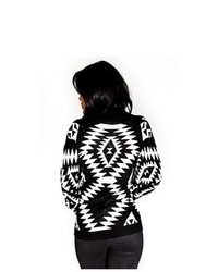 Soho Girl Aztec Print Cardigan Black