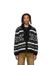 Black and White Geometric Shawl Cardigan