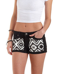 Charlotte Russe Aztec Patched Low Rise Denim Shorts