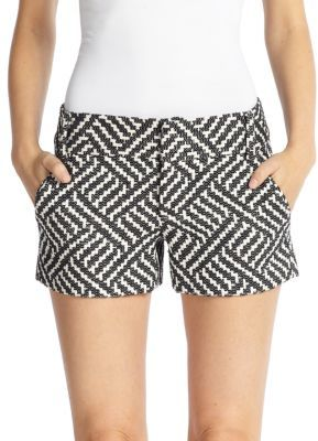 Alice   Olivia Cady Woven Geometric Patterned Shorts | Where to ...