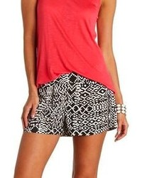 Charlotte Russe Pleated Tribal Print High Waisted Shorts