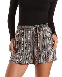 Charlotte Russe Sash Belted Tribal Print High Waisted Shorts