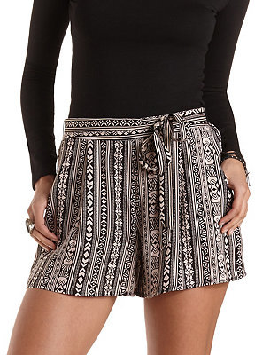 Charlotte Russe Sash Belted Tribal Print High Waisted Shorts ...