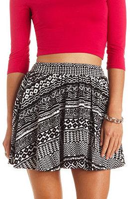 Black And White Geometric Skater Skirts Charlotte Russe Smocked Waist Tribal Print Skirt
