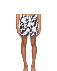 Bather Black And White Abstract Geometric Pattern Swim Shorts