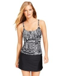 Island Escape Tribal Print D Cup Tankini Top Swimsuit