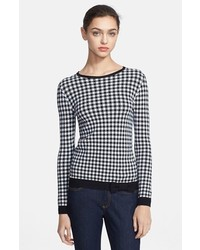 Black and White Gingham Crew-neck Sweater