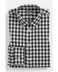 Calibrate Slim Fit Non Iron Gingham Dress Shirt Black 17 3233