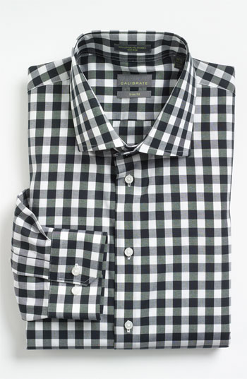 Calibrate trim fit non iron gingham dress shirt black 155 for Men s red gingham dress shirt
