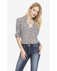 Express Gingham Check Convertible Sleeve Portofino Shirt