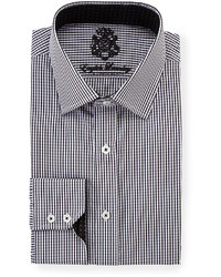 English Laundry Gingham Long Sleeve Dress Shirt Black