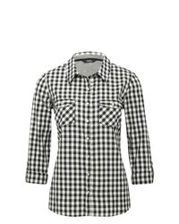 M&Co Gingham Checked Monochrome Cotton Shirt Black And White 12
