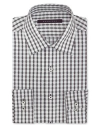 Sean John White And Black Grid Check Dress Shirt