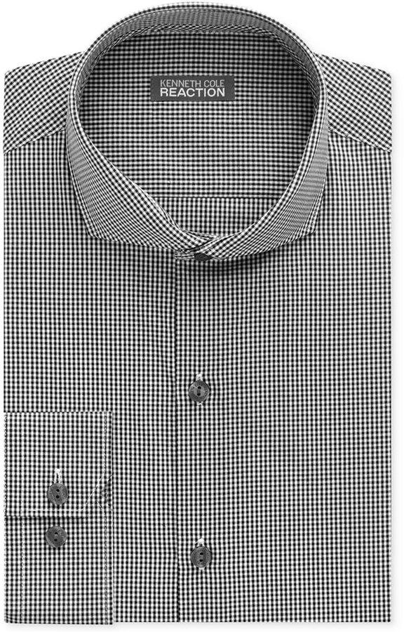 a0685ad9c Slim Fit Black White Gingham Dress Shirt