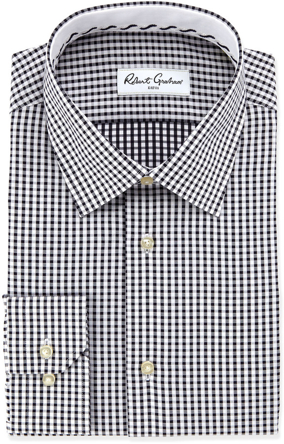2613a858703 ... White Gingham Dress Shirts Robert Graham Teddy Gingham Dress Shirt Black  ...