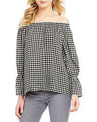 Charlotte off the shoulder bell sleeve gingham blouse medium 3641183