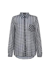 New Look Black Gingham Check Blouse