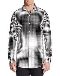 Saks Fifth Avenue BLACK Slim Fit Gingham Check Cotton Sportshirt