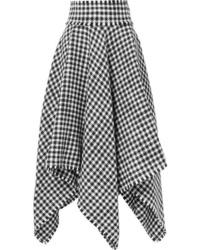 Dolce & Gabbana Asymmetric Houndstooth Wool Blend Midi Skirt