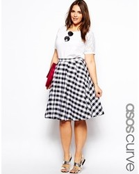 Curve curve midi skirt in gingham check blackwhite medium 125981