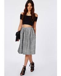 Missguided helena gingham full midi skirt black medium 125982