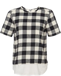 Cynjin short sleeve cotton plaid shirttail top medium 236352