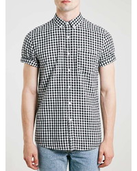 8f42a9f4371 ... Topman Blackwhite Gingham Short Sleeve Casual Check Shirt