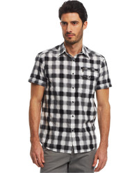 Kenneth Cole Reaction Buff Checked Zip Pocket Shirt