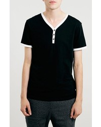 Topman Slim Fit Baseball Henley T Shirt