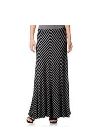 Chelsea & Theodore Chelsea And Theodore Black Grey Striped Maxi Skirt