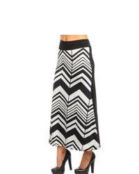 Stanzino Black And White Chevron Maxi Skirt