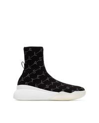 Stella McCartney Black Loop Logo Embellished Sock Sneakers