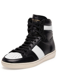 Saint Laurent Contrast Stripe Leather High Top Sneaker