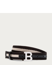 B Buckle Fabric Belt In Black Beige