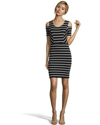 Black and white striped stretch jersey cold shoulder bodycon dress medium 468906
