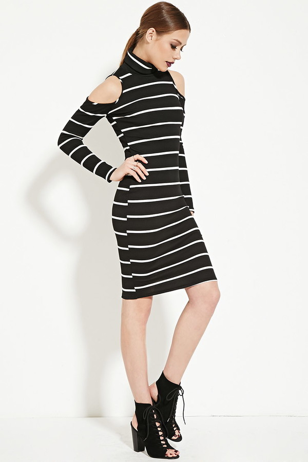 f12921a896f Forever 21 Ribbed Stripe Turtleneck Dress