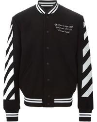 Black and White Horizontal Striped Bomber Jacket