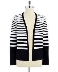 Black and White Horizontal Striped Cardigan