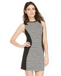 Black and White Horizontal Striped Casual Dress